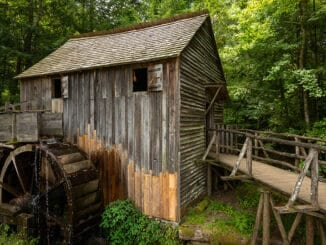 Water wheel and old mill in the woods
