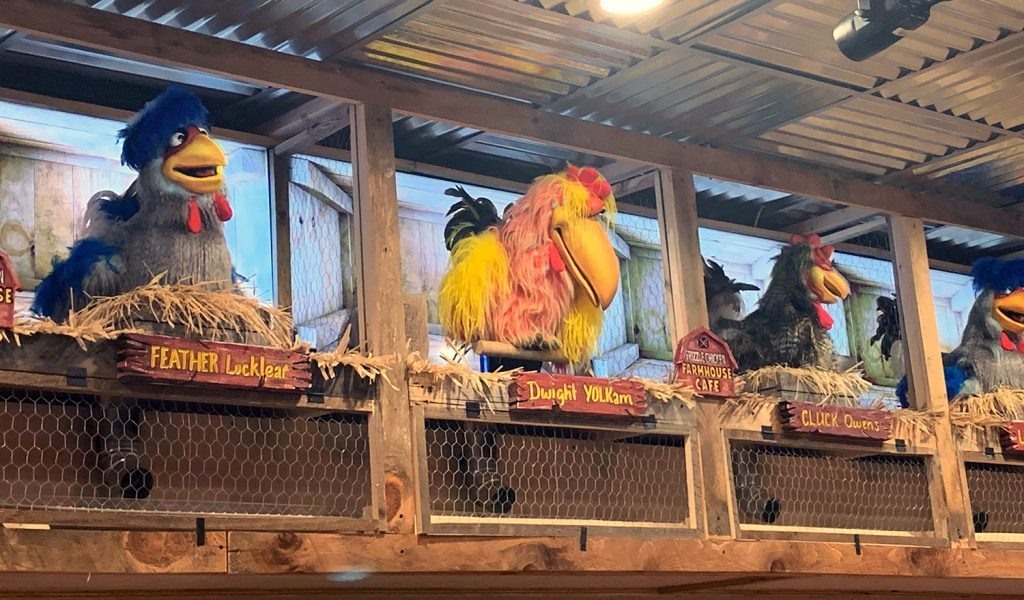 Frizzle Chicken serves up Pancakes with a side of 100 singing animatronic chickens