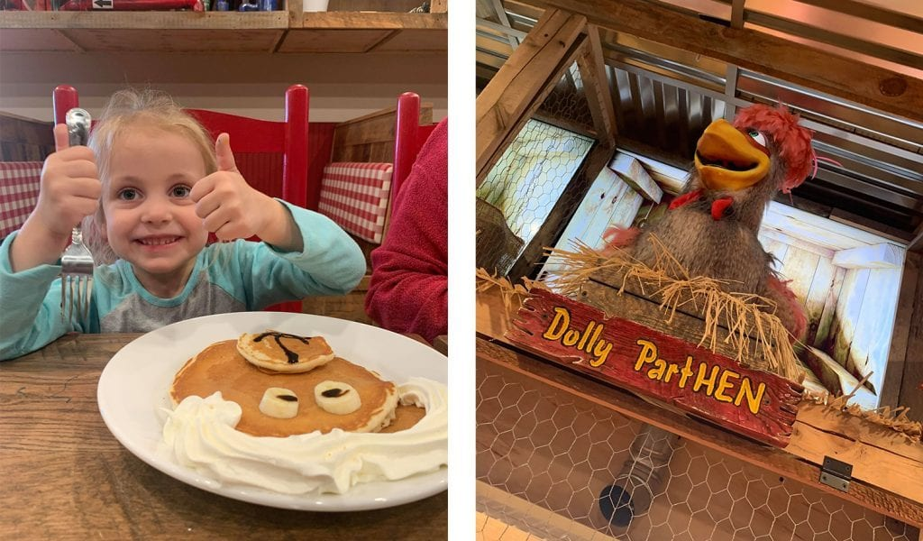 The view at Frizzles Chicken - Thumbs up over pancakes, meet Dolly Parthen