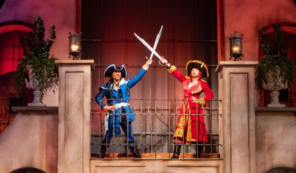 Two pirates in the Pirates Voyage show