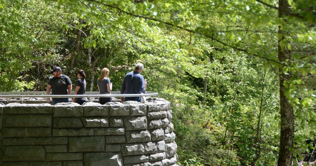 Visitors enjoying the view from the Sinks area of the Great Smoky Mountain National Park (photo by Daniel Munson/TheSmokies.com)
