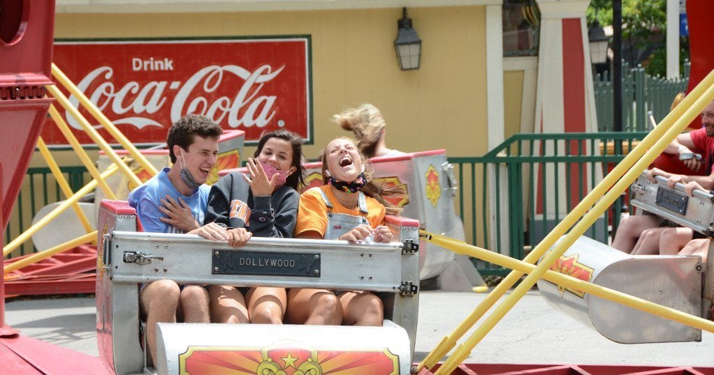 "Kids ride the ""scrambler"" at Dollywood on opening day (photo by Daniel Munson/TheSmokies.com)"