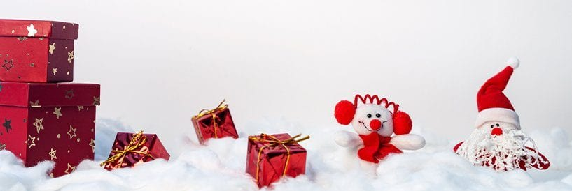 Gifts, Santa, Snowman in Snow