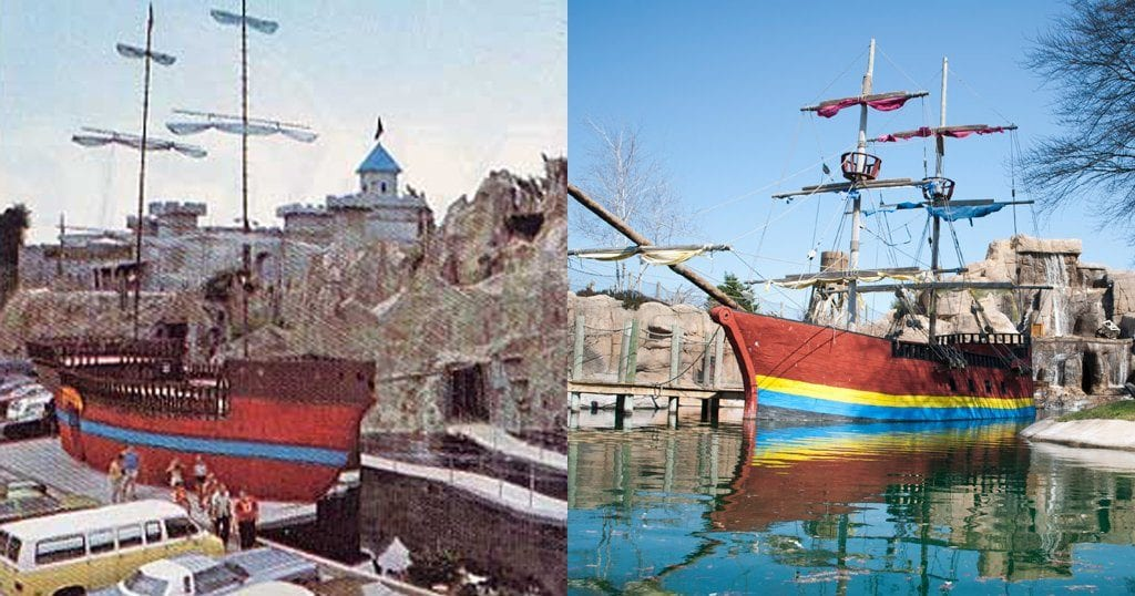 Magic World (left) and the attraction that would replace it: Professor Hacker's Lost Treasure Mini Golf (right) (image on right courtesy of Professor Hacker's Lost Treasure Mini Golf)