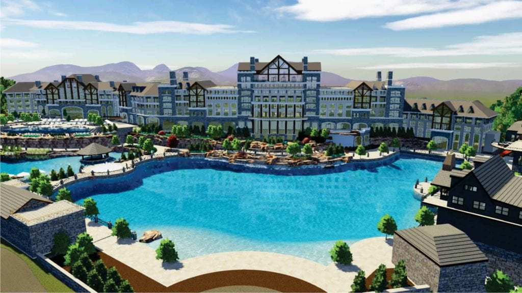 Blue Mist Mountain Resort will be a luxury resort that features over 300 hotel rooms and suites, 200 two-bedroom townhomes and 40 vacation residences (rendering courtesy of New Paradigm Development Partners)