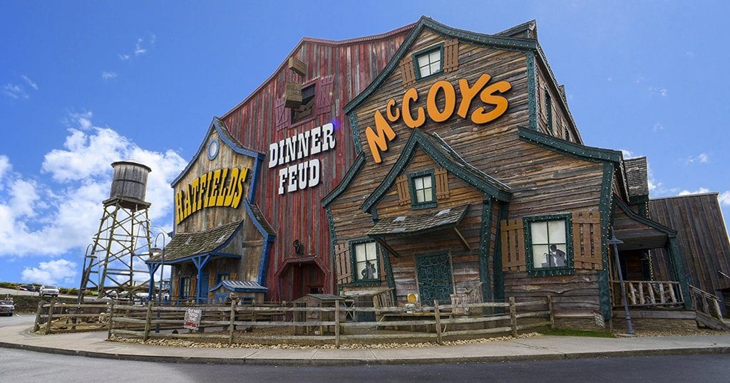 The Hatfield and McCoy Dinner Show is located at 119 Music Rd in Pigeon Forge, TN (photo courtesy of Hatfield & McCoy Dinner Feud)