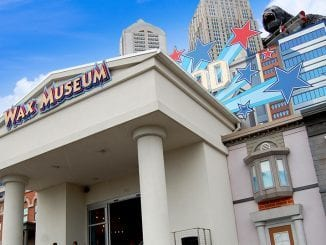 A The Hollywood Wax Museum in Pigeon Forge cuts a striking figure on the landscape of the main drag. The front of the building features a Mt. Rushmore of Hollywood Royalty with giant busts of Charlie Chaplin, Marilyn Monroe, Elvis and John Wayne (photo by Alaina O'Neal/TheSmokies.com)