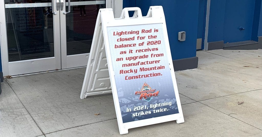 A sign in front of the Lightning Rod coaster at Dollywood indicates the attraction will be closed for the remainder of the year (photo by Alaina O'Neal/TheSmokies.com)