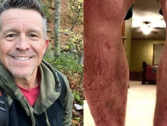 Fred Braden Jr. of Powell, Tenn. got lost while hiking in the Great Smoky Mountains National Park on Tuesday and ended up staying overnight. He suffered no major injuries other than scrapes to his legs (photo courtesy of Fred Braden Jr.)