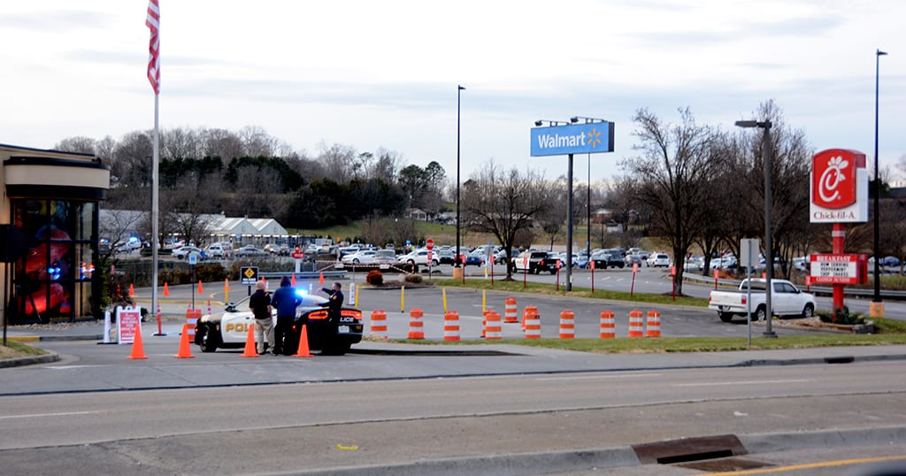 A reported 'active shooter' situation caused the local Walmart to be evacuated two days before Christmas in Sevierville (photo by Daniel Munson/TheSmokies.com)