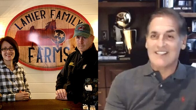 Local souvenir shop owners Katherine Mitchell and Jon Lanier were surprised by Shark Tank star Mark Cuban last week when they received a bit of free advice about how to run a successful business in Pigeon Forge (screenshots/photos contributed by JK Lanier's General Store)