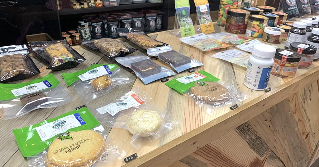 A sampling of edible products from Tennessee Hemp Care in Gatlinburg, Tenn. (photo by Morgan Overholt/TheSmokies.com)