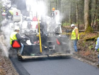 Construction crews re-pave Cades Cove Loop Road in 2010